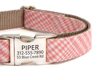 Personalized Laser Engraved Buckle Dog Collar in Pink - ID Dog Collar Personalization - Girl Dog Collar for Spring and Summer