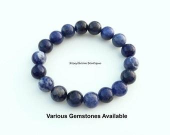 Sodalite Bracelet-10mm Genuine Sodalite Gemstone-Blue Stone Bracelet-Men Blue Bracelet-Men Bracelet-Natural Stone Bracelet-Natural Sodalite