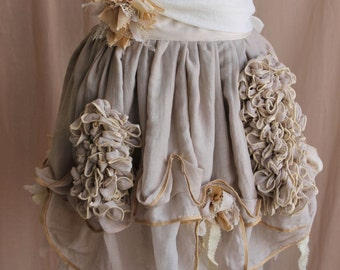 Victorian Shabby Cottage Muslin Garden Mini Bustle Skirt xs, s, m, l, or xl
