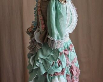Victorian Gown, Bohemian, Shipwreck 3 Piece Floral Bustle Dress Custom Size