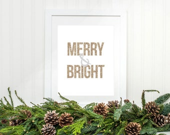 Merry & Bright Printable Merry and Bright Christmas Printable Christmas Decor Christmas Wall Art Christmas Decoration Gold Silver Glitter