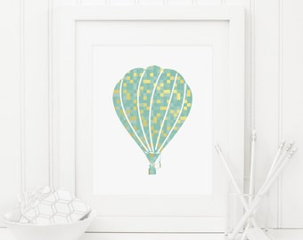 Hot Air Balloon Printable Gold and Teal Nursery Decor Geometric Nursery Wall Art Nursery Balloon Wall Art Balloon Print Playroom Decor