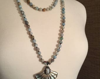 Long Necklace made with Amazonite, Abalone, Freshwater pearl