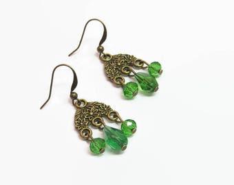 Emerald Green Chandelier Earrings, Green Floral Chandelier Earrings, May Birthstone Earrings, Petite Green Chandelier Earrings