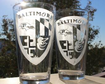 2 Baltimore Pint Glasses