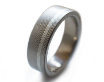 Titanium Ring With Offset Sterling Silver Inlay. Hand-machined with classic brushed finish - sterling silver rings, womens titanium rings