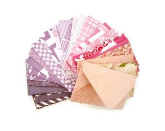 "2"" x 3.5"" Tiny Envelopes/ Card Envelopes/ Pattern Envelopes/ Blank Stationery/ Assorted Purple to Pink Patterns / Set of 20"