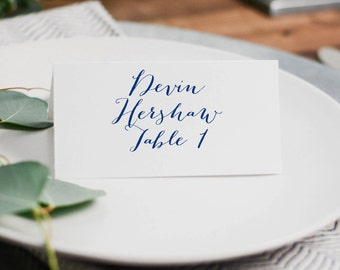 Navy Wedding Place Cards, Wedding Place Card Template, Printable Wedding Place Cards, Folded Place Cards, Navy Wedding Decor