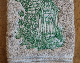 Rustic Outhouse Embroidered Hand Towel - Outhouse bathroom guest towel