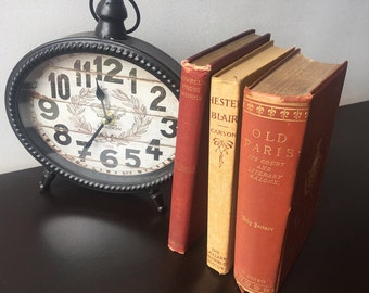 1880s BOOK BUNDLE DECOR - Book Themed Wedding, Vintage Decor, Love, Centerpiece, Old Bookstack, Antique, Rustic, Red, Farmhouse, Shabby Chic