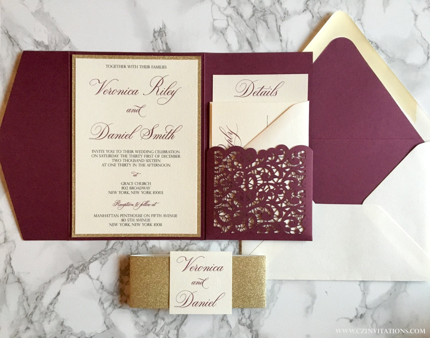 laser cut pocket wedding invitation burgundy and gold glitter