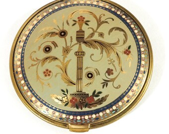 Oversized Volupte Compact, Enamel & Gilded Compact, Vanity Table, Damaged, 1940s, Vintage