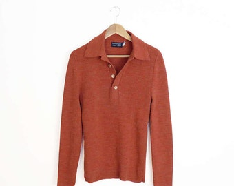 Vintage 70s Muted Coral Collared Pullover Sweater With Wood Buttons