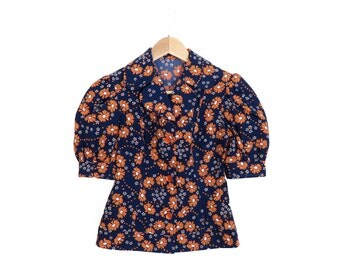 Vintage 70s Puff Sleeve Floral Print Blouse Size XS/S