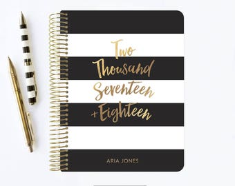 2017 - 2018 Planner | 2017 Planner | 2017 | Student Planner | Professional Planner | Agenda | Personalized | Stripes | Black and White