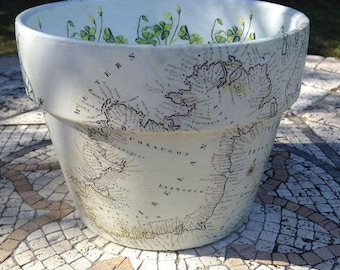 Old Ireland Map Planter, Irish Shamrock Vintage Map, Celtic Botanical Flower Garden Orchid Cache Pot,  May the LUCK of the IRISH be with Ye!