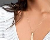 Gold Coordinates Necklace, Custom Gift, Coordinates Bar Necklace, Perfect Gift for Her, Mom, Personalized Bar, BLUSHESANDGOLD [V450-V435]