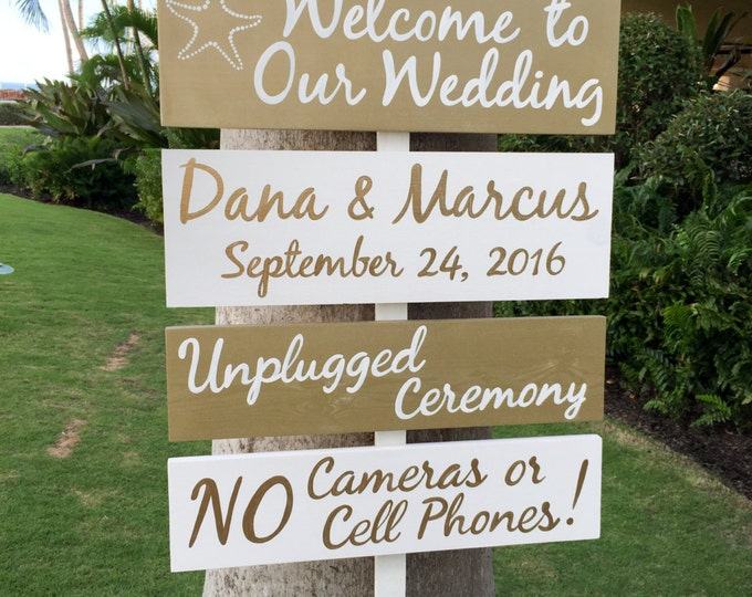 Gold Welcome wedding sign, Beach wedding decor, Directional sign, Destination wedding gift idea