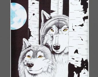 1997 Joe Medrano Wolves Poster Black & White Print Original Vintage Poster 14 x 10.75 Size