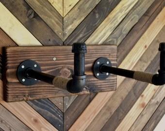 Burlap Pipe Bicycle Rack Bike Display -- Industrial Rustic Cycle Storage
