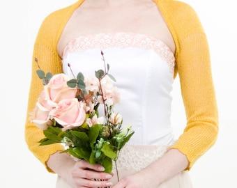 Golden Shrug Wedding bolero Jacket Mustard Yellow Bolero Bridesmaids shrugs Boleros knitted Bridal jacket cover up Evening mustard bolero