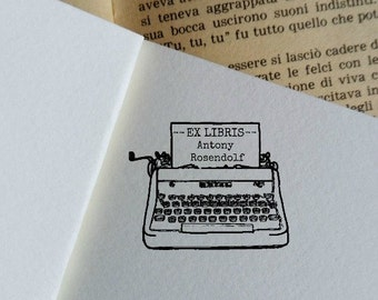Ex Libris Typewriter Custom Stamp,Customizable Rubber Stamp,Ready to Ship Bookplate Stamp,Christmas Books Lovers Gift Idea  -1300241116-
