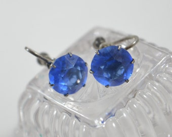 Vintage STERLING Blue Rhinestone Screw Back Earrings Marked Sterling Large Facetted Prong Set Blue Rhinestone Vintage Earrings