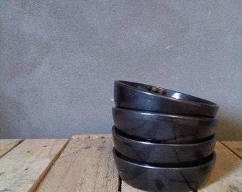 Black bowl, wheelthrown 12 cm - for dessert, tapas, snacks