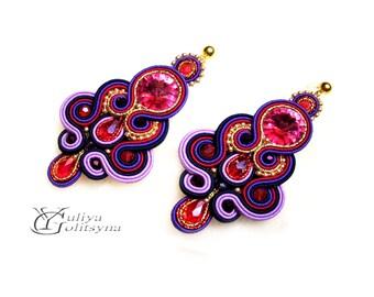 Soutache earrings Colorful Purple Earrings Dangle Earrings Soutache violet jewelry Swarovski earrings Valentine's day gift
