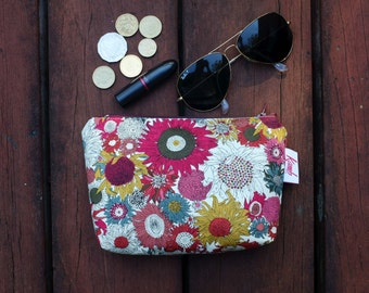Sunflower floral fabric cosmetic bag, large pencil case, floral makeup bag, make up pouches, zipper cases, clutch,coin purse keychain floral