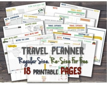 Vacation planner travel journal trip world midori travelers notebook inserts printable itinerary tn refill _ Any re-size is FREE!