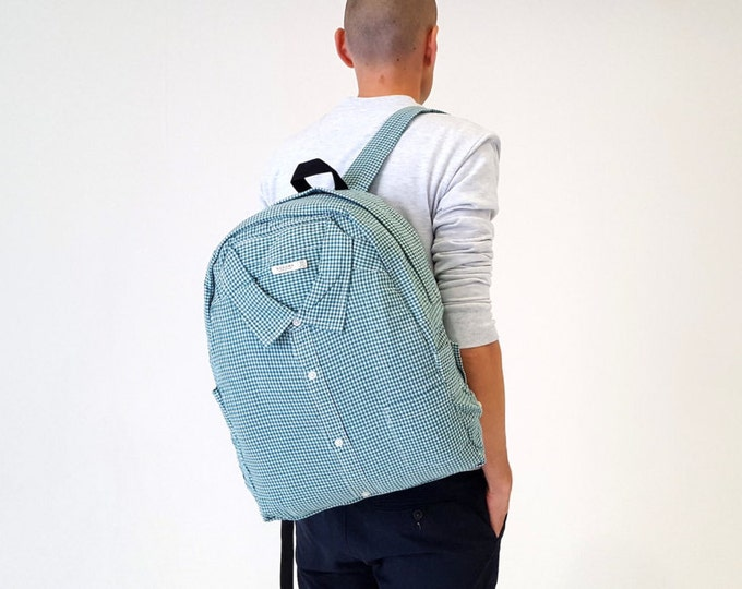 Mens backpack, vegan backpack, green backpack, unique rucksack, shirt backpack, plaid backpack, women backpack, travel, hipster, denim, eco