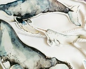 Garland of Whales | Watercolor | Paper Garland | Illustration | Deco | Banner | Whale | Marie-Eve Arpin | Marine | Deco | Animal Garland