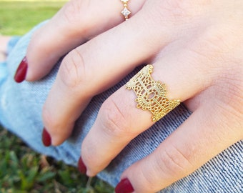Gold Wide lace ring delicate wide band sterling silver gold plated stackable crown lace milgrain wide stacking ring