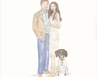 Cartoon Couple - Couple Gifts - Custom Portrait - Couples Portrait - Cartoon Family - Watercolor Portrait - Wedding Gift Ideas - bridal gift