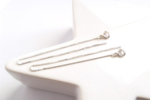 Long ears simple silver chains 925 silver chain fine pendant Crystal round faceted shiny transparent Threader earrings