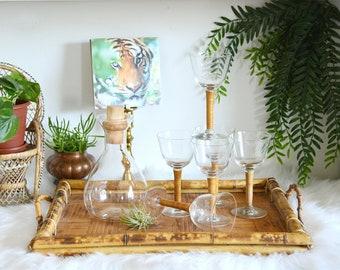 Rattan Wrapped Wine Glasses, Rattan Stem Wine Goblets, Set of 6