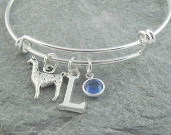 Llama bracelet, silver llama, initial bracelet, swarovski birthstone, personalized jewelry, llama jewelry, llama gift, silver bangle, alpaca