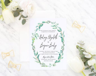 Printable Wedding Invitation Suite / Wedding Invite Set - The Audrey Wreath Suite