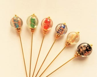 Lampworked Glass Bead Hijab/Hat/Stick/Lapel Pin