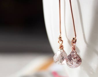 Moss Amethyst Long Dangle Drop Earrings in 14K Rose Gold Filled, February Birthstone Jewelry, Minimalist Earrings, Dainty Bohemian Jewelry