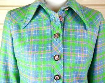 French Vintage Plaid Jacket, Green Pink Blue Tartan Blazer, Wide Collar Plaid Summer Jacket: Size 12 (US), Size 14 (UK)