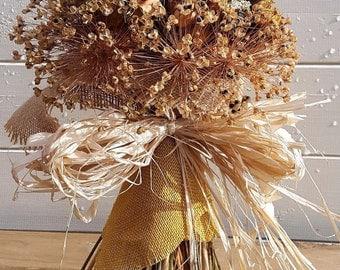 Free standing, dried flower bouquet, Allium, Sunflower, Nigella, Poppy heads, Hessian, Raffia