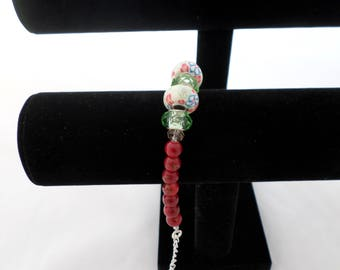 Bracelet 'Floral Fun' White and Green
