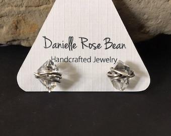Herkimer Diamond Earrings / Stud  Earrings / Raw Crystal / Post Earrings /Daniellerosebean / sterling silver Earrings / Healing Crystal