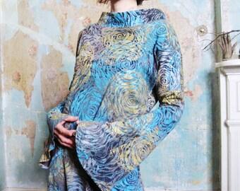 Women's Organic Cotton Bell Sleeves Dress Hand Printed Handmade Wearable Art Dress Organic Clothing Eco Chic Sustainable Fashion Dress