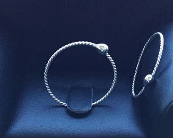 Silver Sleeper Hoops * Twisted Silver Hoops *  Argentium Hoop Earrings * Men's Women's Girl's Gift * 24 Hour Everyday Wear