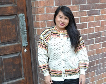 VTG 80s Norwegian wool knit cardigan sweater by NORSK HUSFLID  women's size medium