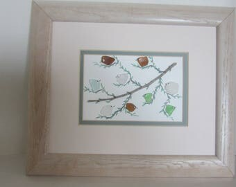 Sea Glass, Beach Glass , Hand Painted Larger Bird  Picture