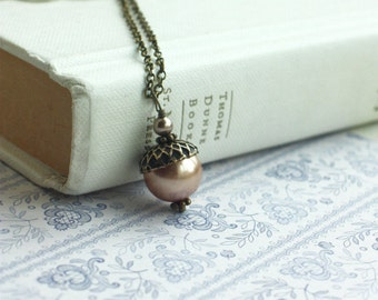 Acorn Necklace, Christmas Gift Ideas, Rose Gold Acorn Jewelry, Rose Gold Pearl, Bridal Wedding. Bridesmaids Gift, Rustic Rose Gold Wedding
